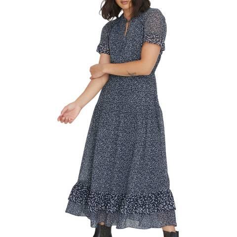 Oliver Bonas Blue Timely Texture Midi Dress