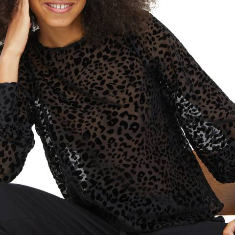 Oliver Bonas Black Leopard Textured Top