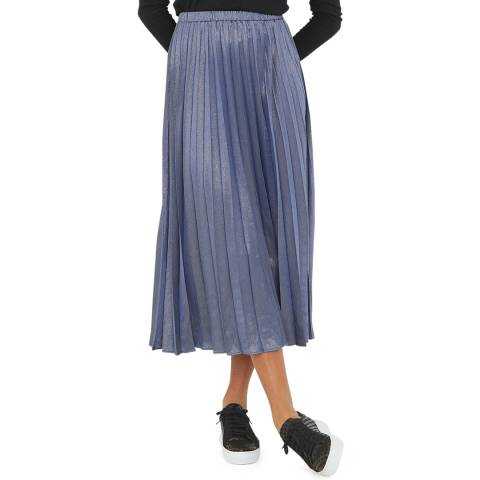 Oliver Bonas Blue Long Pleat Sparkle Skirt