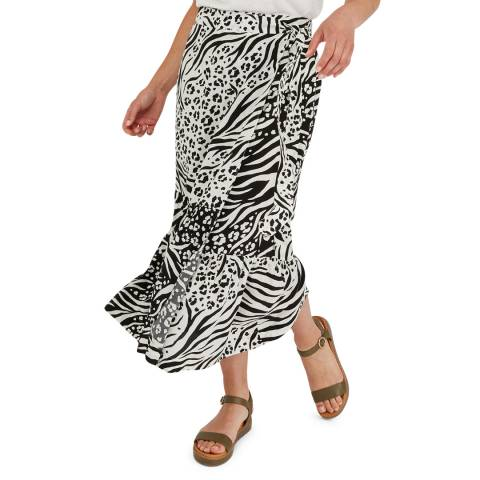 Oliver Bonas Black Mono Animal Wrap Skirt