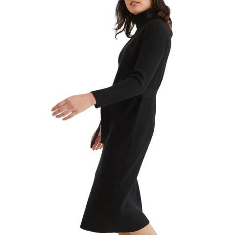 Oliver Bonas Black Belted Knitted Dress