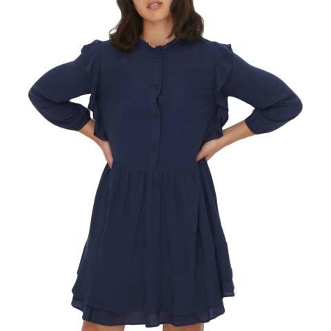 Oliver Bonas Blue Plain Frill Mini Dress