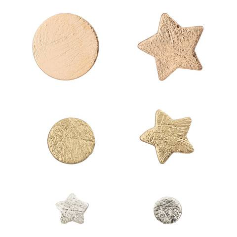 Oliver Bonas Metallic Stars and Planet 6 Pack Stud Earrings