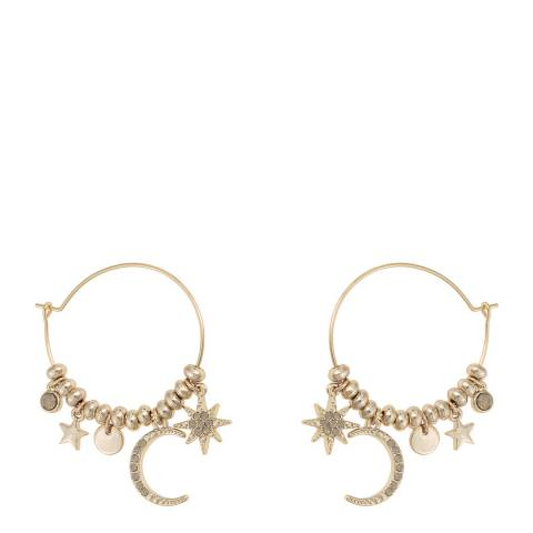 Oliver Bonas Gold Crescent Moon and Star Charm Hoop Earrings