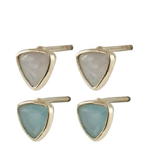 Oliver Bonas Multi Ava Triangular Stone Stud Earrings 4 Pack