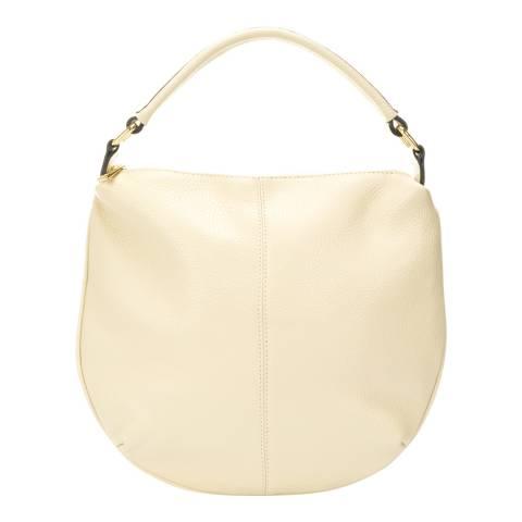Giulia Massari Beige Leather Top Handle Bag