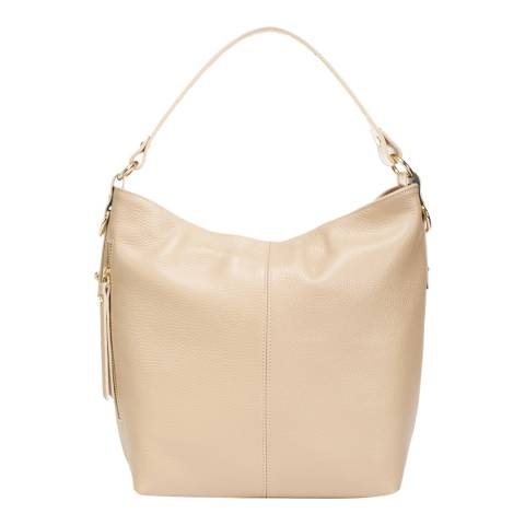 Giulia Massari Taupe Leather Top Handle Bag