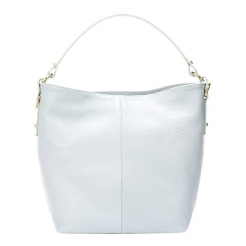Giulia Massari Pale Blue Leather Top Handle Bag