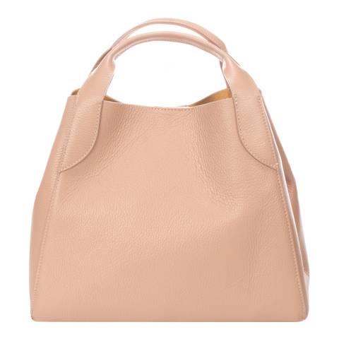 Giulia Massari Blush Leather Top Handle Bag