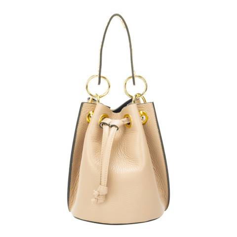 Markese Taupe Leather Bucket Bag