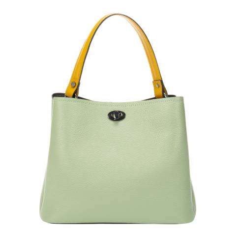 Markese Mint/Yellow Leather Shoulder Bag