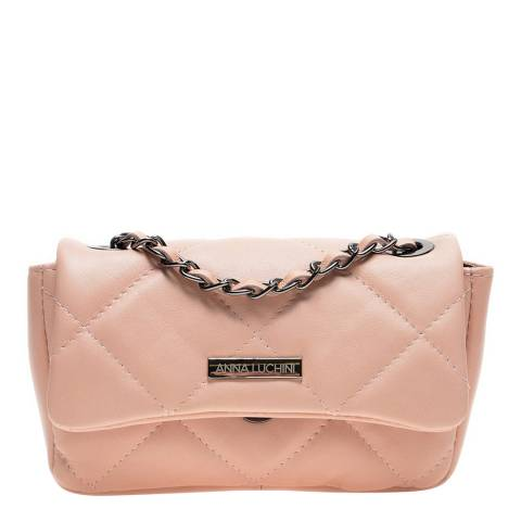 Anna Luchini Pink Leather Shoulder/Crossbody Bag