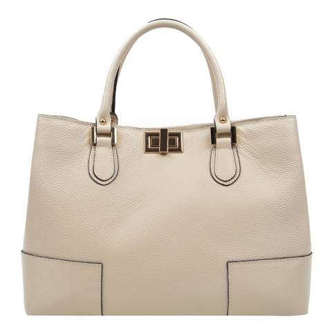 Anna Luchini Beige Leather Top Handle Bag