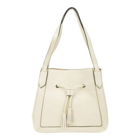 Roberta M Beige Leather Shoulder Bag