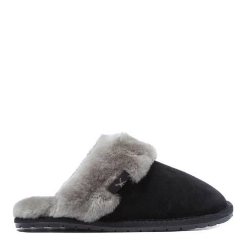 Fenlands Sheepskin Women's Black/Grey Sheepskin Mules slipper