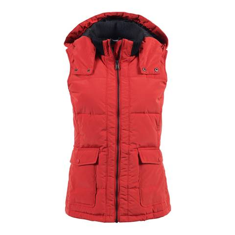 Crew Clothing Red Quilted Hooded Gilet