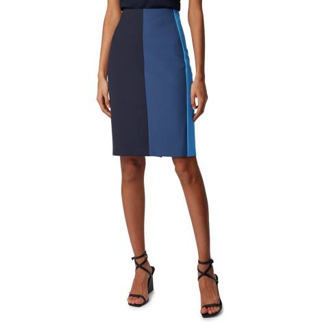 BOSS Navy Volobus Stretch Suit Skirt