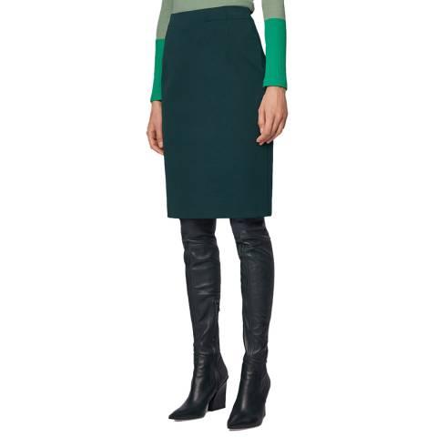 BOSS Dark Green Vaxine Stretch Suit Skirt