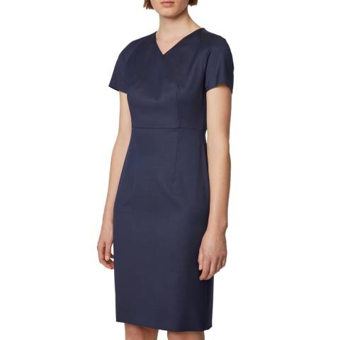 BOSS Navy Deitua Wool Dress