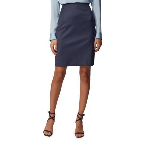BOSS Navy Vikena Wool Suit Skirt
