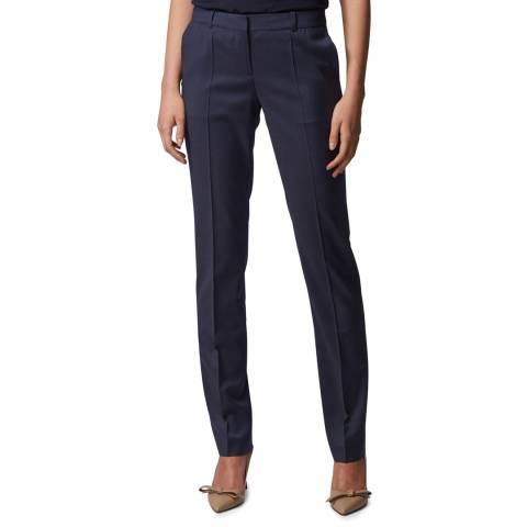 BOSS Navy Titana6 Wool Suit Trousers