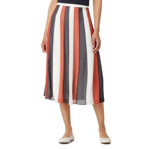 BOSS White Stripe Valentia Silk Blend Skirt