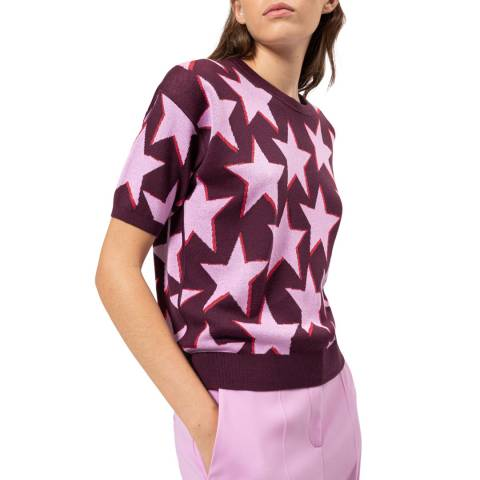 HUGO Purple Star Shyly Silk Blend Jumper