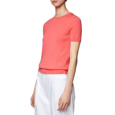 BOSS Pink Falyssa Short Sleeve Wool Jumper