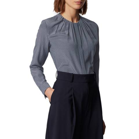 BOSS Navy Print Banora Silk Blouse