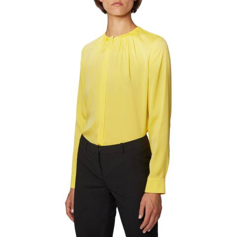 BOSS Yellow Banora Silk Blend Blouse