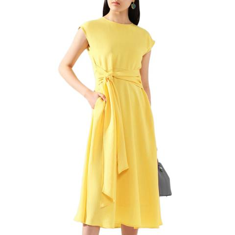 BOSS Yellow Dacari Tie Waist Dress
