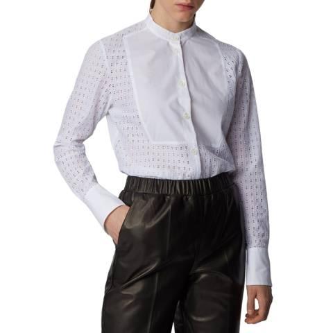 BOSS White Iacrux Collarless Shirt