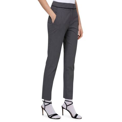 HUGO Grey The Cropped Stretch Suit Trousers