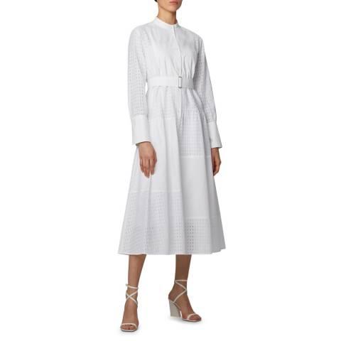 BOSS White Dacrux Belted Dress