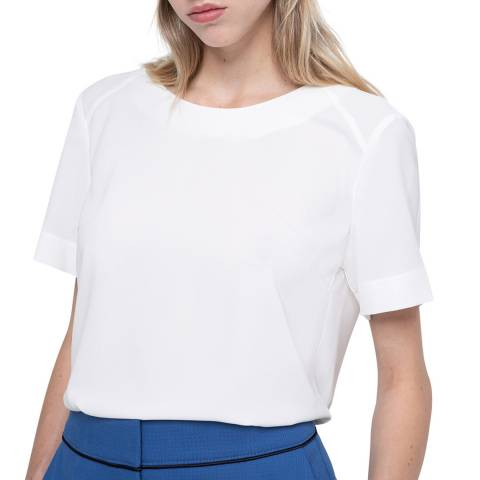 HUGO White Curena-1 Short Sleeve Top
