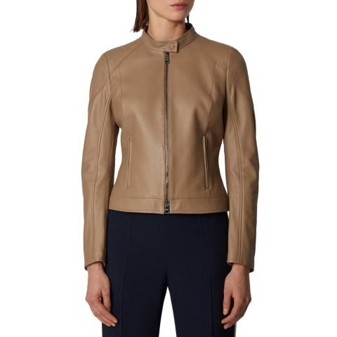 BOSS Brown Saflama Leather Jacket