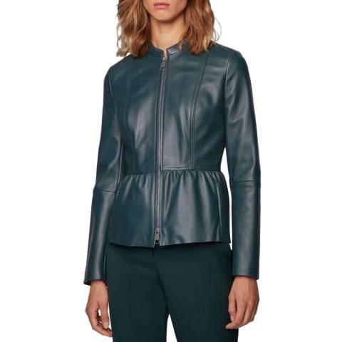 BOSS Dark Green Sateur Leather Jacket