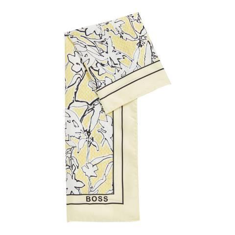 BOSS Yellow Print Lis Silk Scarf
