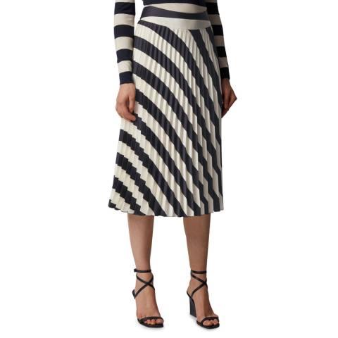 BOSS Navy Stripe Valta Skirt