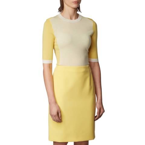 BOSS Yellow Franna Wool Short Sleeve Jumper