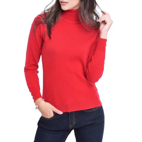 C & JO Red Cashmere Blend Polo Jumper