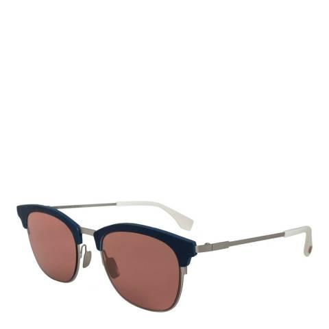 Fendi Men's Silver/Red Fendi Sunglasses 50mm