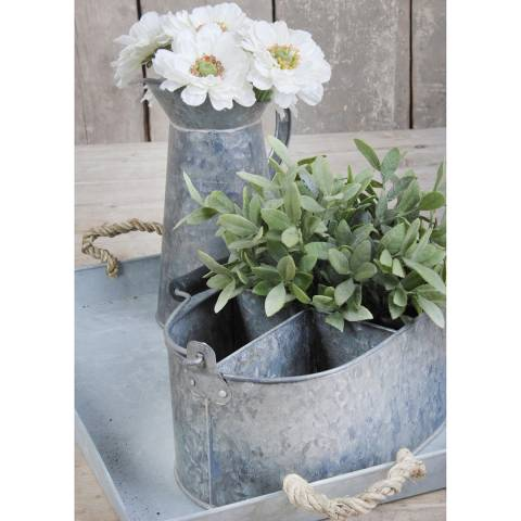 Fallen Fruits Old Zinc Oval Basket With Storage, Small
