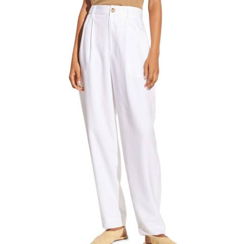 Vince White Pleat Front Tapered Trousers