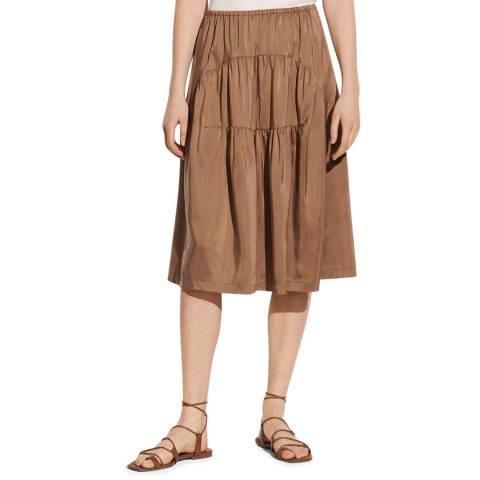 Vince Brown Shirred Panel Silk Skirt