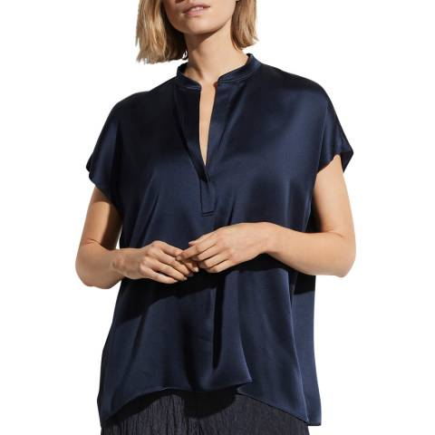 Vince Navy Relaxed Silk Blouse