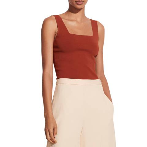 Vince Rust Square Neck Woven Tank Top