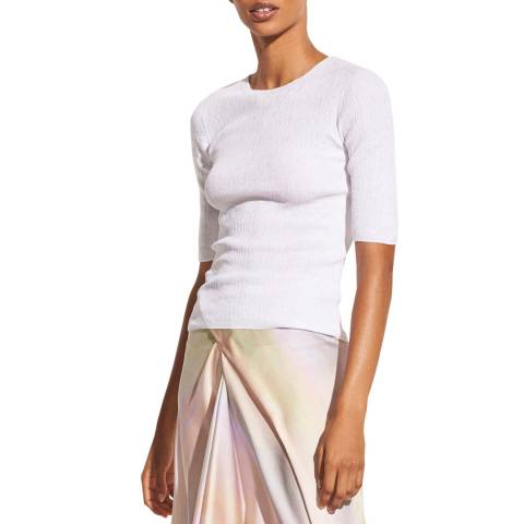 Vince White Pleated Cotton Pullover Top