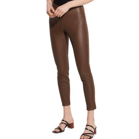 Vince Brown Crop Leather Trousers
