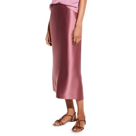 Vince Pink Silk Midi Skirt